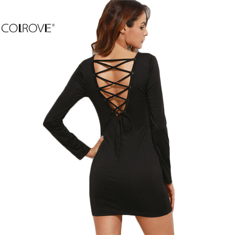Black Dresses for Party Sexy Club Outfits Black Lace Up V Back Long Sleeve