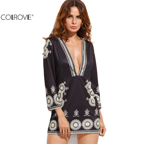 Black Deep V Neck Vintage Print Long Sleeve Shift Mini Dress Women