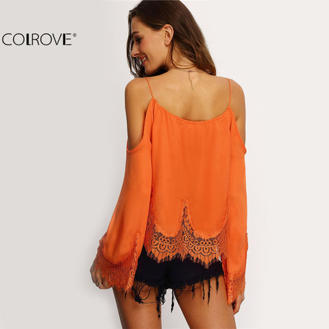 Beach Summer Style Casual Shirts Orange Flare Sleeve Crop Blouse