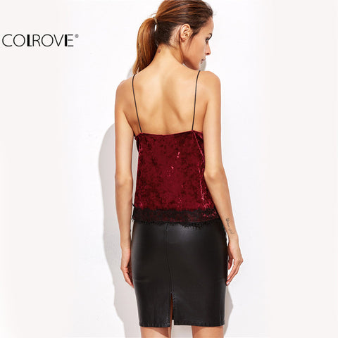 Burgundy Contrast Lace Trim Velvet Sleeveless Cami Top Camisole