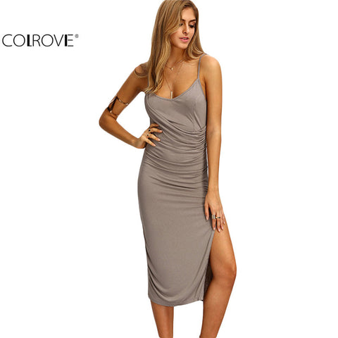 Fitness Midi Women Grey Sleeveless Wrinkle Sheath Dress