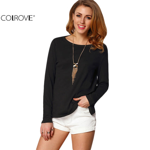 Backless Casual Shirts Long Sleeve Black Split Side Cut Out Crew Neck