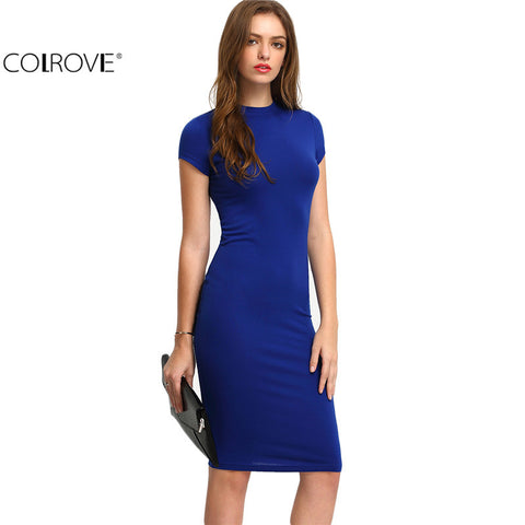 Bodycon Dresses Sexy Short Sleeve Crew Necl Work Knee Length Dress