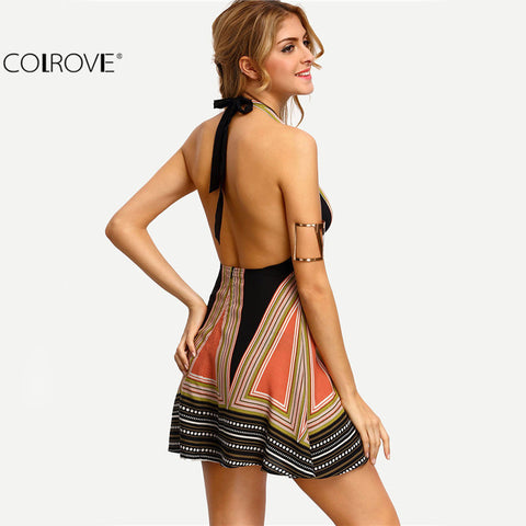 Halter Women Dresses Summer Sexy Ladies Multicolor Plunge V-neck Tassel