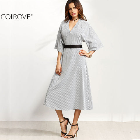 Contrast Belt Open Back V Neck Three Quarter Length Sleeve A Line Long