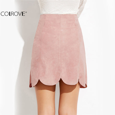 Clothing Kawaii Skirt Pink Faux Suede Button Up Scallop Panel A Line Skirt