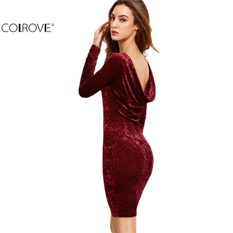 Sexy Club Dresses Fitted Dresses Burgundy Draped Back Velvet Bodycon