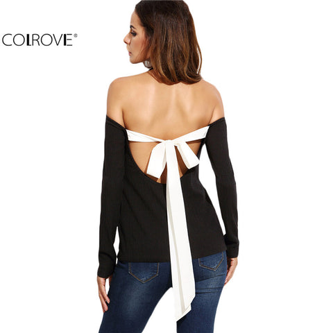 Black Halter Neck Open Shoulder Tie Back Ribbed T-shirt