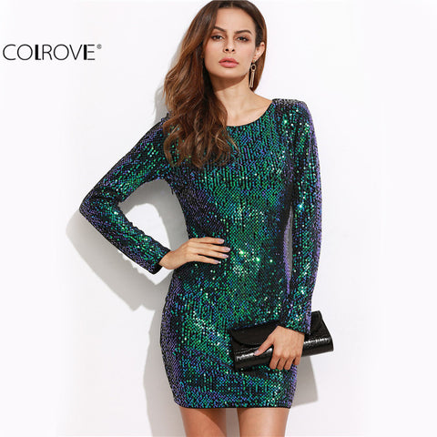 Party Night Club Dress Bodycon Sexy Dress Club Wear Iridescent Green