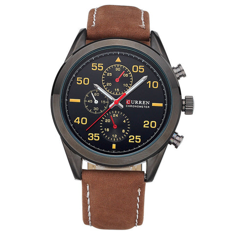 Business Quartz Watches Top Brand Luxury Military Wristwatches Leather