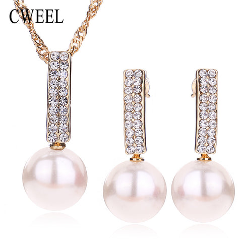 Bridal Jewelry Sets For Women Simulated Pearl Pendant Necklace