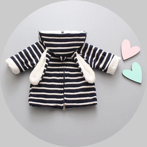 baby striped hooded coat