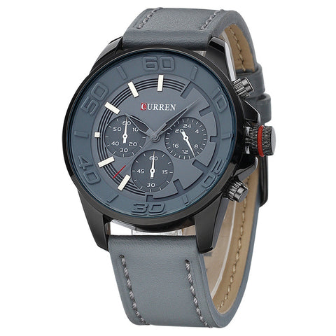business men clock casual leather luxury wrist quartz army sport watch
