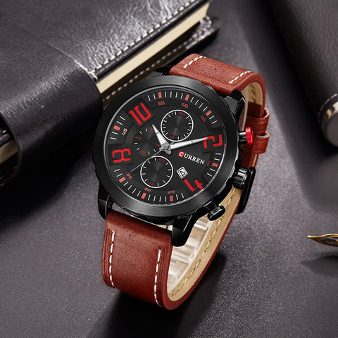 Brand Luxury Cow Leather Strap Quartz-Watches Sport Men's Watches