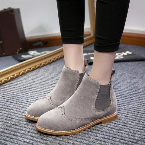 Ankle Boots Flat Heels Shoes Woman Suede Leather Boots