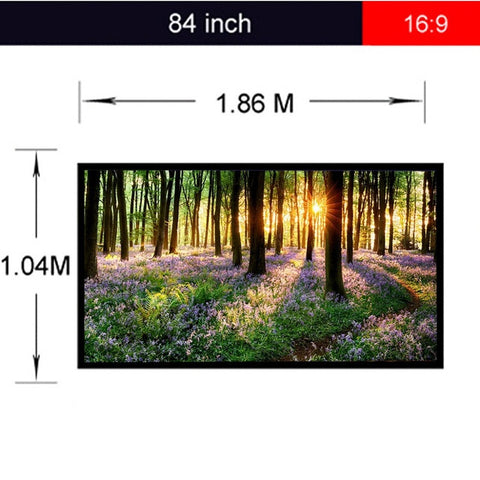 Excelvan Portable Projecttion Screen 84'' 16:9 Fabric Matte White Projector Projection Screen PVC Material Projector Screen