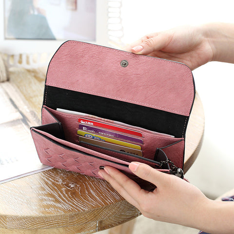 Fashion Knitting Women Purse Tassel Women Wallet Long Clasp Female
