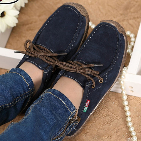 Fashion women casual shoes Autumn women leather shoes solid lace up