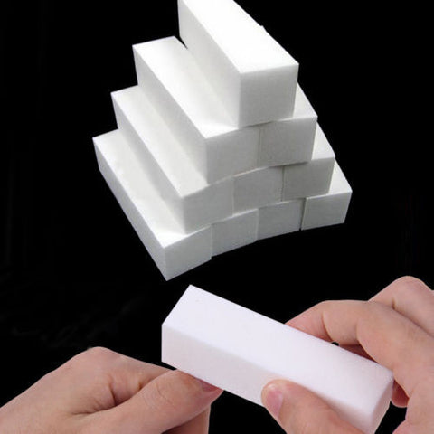 10Pcs White Buffing Sanding Files Block Pedicure Manicure Care Nail Art
