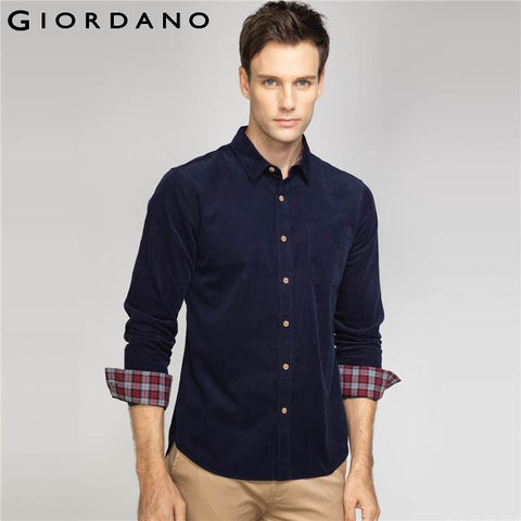 Casual Long Sleeve Mens Corduroy Shirts Camisa Masculina Blusas Pure