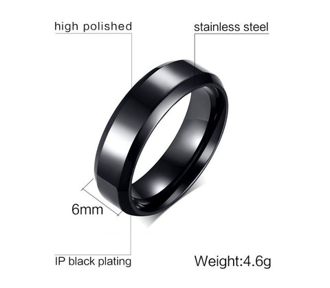 Black Gun Plated Women's Ring High Polished Stainless Steel