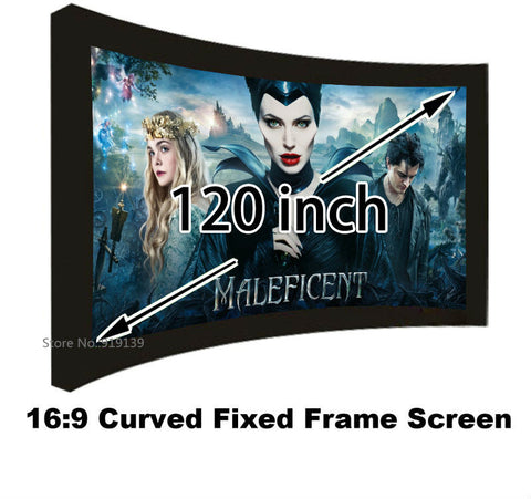 Cinema Projection Screen 16:9 Curved Fixed Frame Projector Screens 120 Inch HD Matt White Suit For 3D Cinema Display