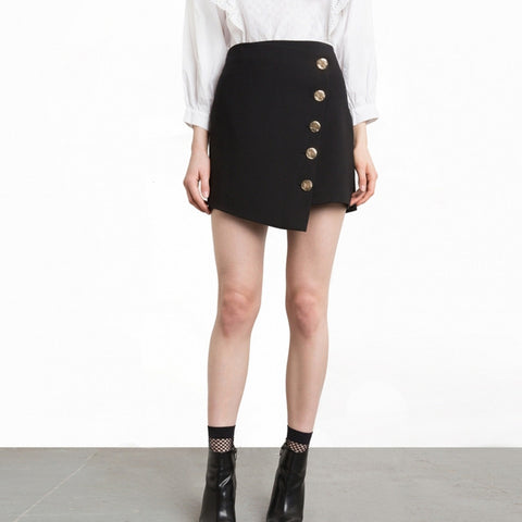 Casual Solid Black High Waist Lady Skirts Preppy Asymmetrical Button
