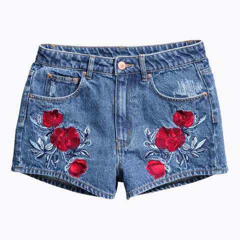 Block Short Jeans Flower Embroidery Pockets Denim Short Pants Casual