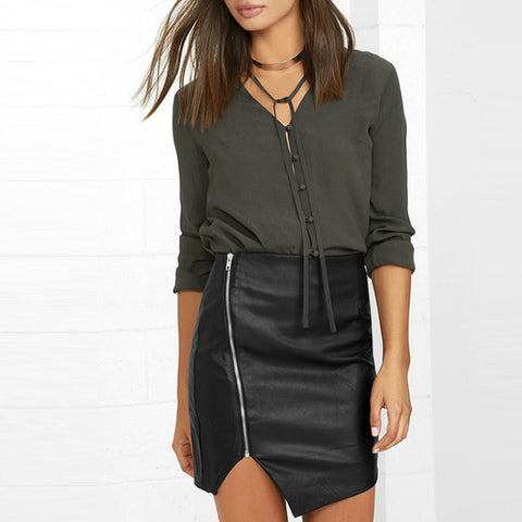 Asymmetrical Split Bottom Pencil Skirt Autumn High Waist PU Zipper Mini