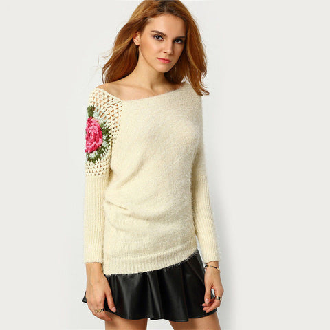 Asymmetrical Knitting Pullovers Spring Apricot Round Neck Loose Knit