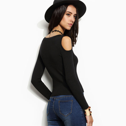 Black Round Neck Long Sleeve Open Shoulder Skinny Jersey Sweater