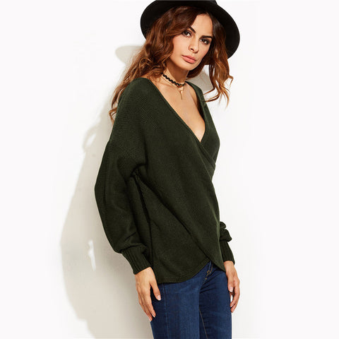 V Neck Long Sleeve Drop Shoulder Loose Crossover Wrap Sweater