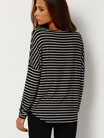 Black and White Striped Long Sleeve Crew Neck Basic Loose Curved Hem