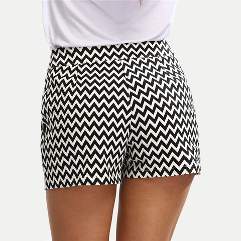 Black and White Mid Waist Button Fly Casual Pocket Cotton Straight Shorts