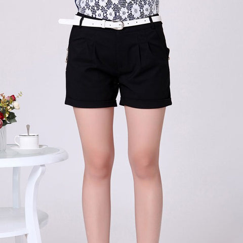 Black Color Straight Style Lady Short Trousers Zipper Fly Design