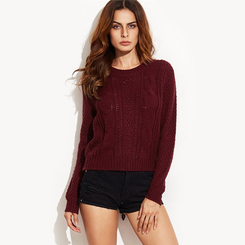 Autumn Pullover Knit Lace Up Back Basic Long Sleeve Knitted Sweater