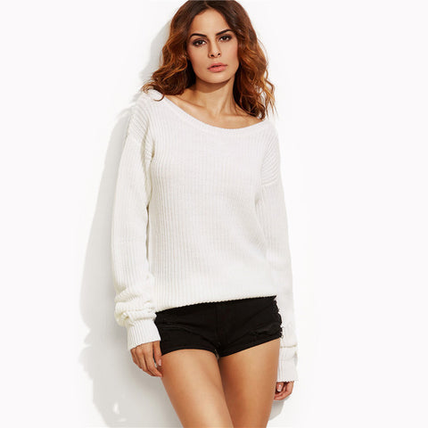 Autumn Sexy Pullovers Boat Neck Long Sleeve Oversized Sweater