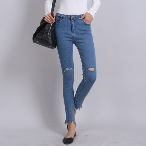 Denim Pants Wide Long Casual Washed Sliming Jeans Female Distressed