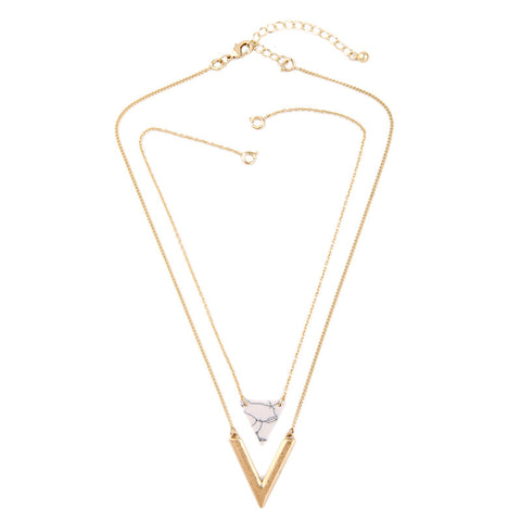 Alloy Artificial Marble Triangle Pendant Necklace Jewelry Alloy Layered Necklace