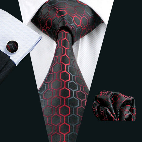 Geometric Jacquard Woven Tie + Hanky + Cufflinks Set For Men Formal