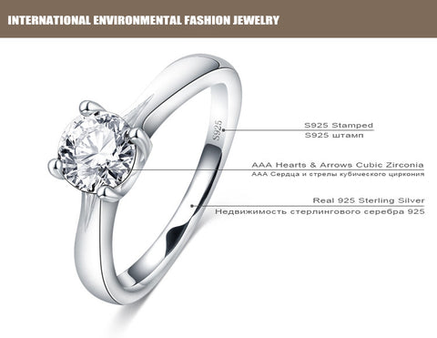 100% 925 Sterling Silver Simple Ring with Cubic Zirconia Diamond