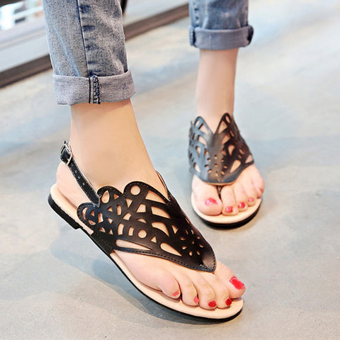 Ladies Sandals Thong Shoes Flip Flops Flat Sandals Cutout Beach Shoes