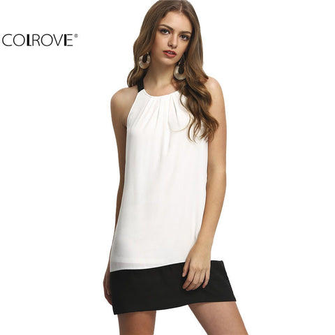 Beach Color Block Womens Beige Black Contrast Sleeveless Shift Mini Dress