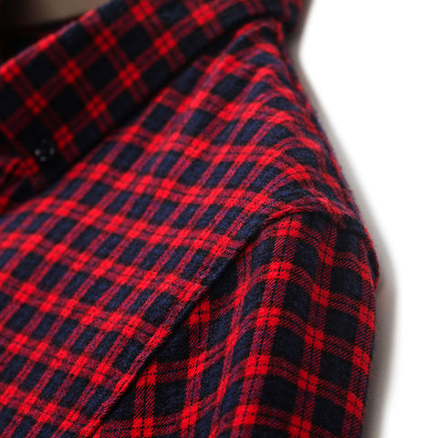 Autumn 100% Cotton Men Shirt Male Red Plaid Slim Shirt Man Casual