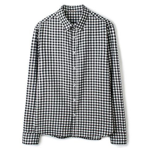 Autumn Plaid Men's Shirts Man Casual Shirt 100% Cotton Long-sleeve Slim