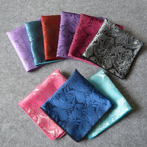 Handkerchief Silk Paisley Men Hankies for Men Suit Square 24*24cm