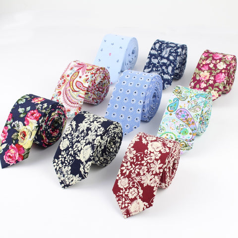 Cotton Flower Roes Bow Tie Paisley Skinny Ties Men Small Designer Cravat