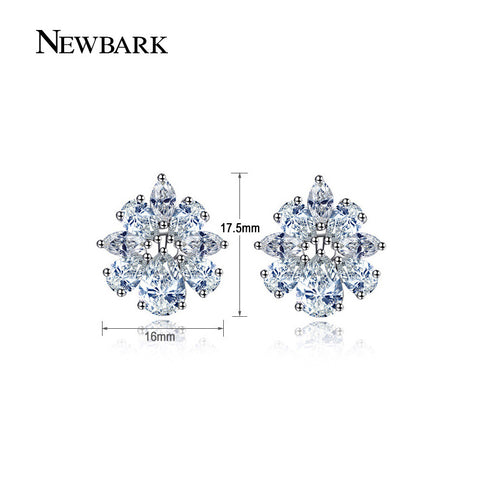 8 Petals Cluster Flower Stud Earrings Austria Cubic Zirconia Stone Crystal Christmas Birthday Gifts Jewelry Bijouterie