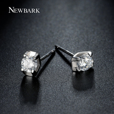 Brand Small Earrings White Gold Plated 4 Prong AAA Top Grade CZ Diamond Stud Earrings Cute