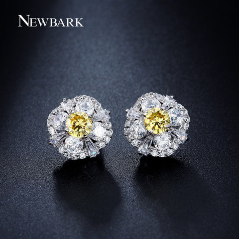 Charm Flower Stud Earrings Yellow Cubic Zirconia Diamond Jewelry Diameter 12.5mm